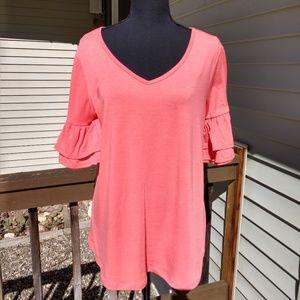 Salmon color blouse by Bobbie Brook's